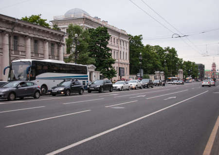nevsky prospect: SAINT-PETERSBURG, RUSSIA - June 12, 2015, Nevsky Prospect in St. Petersburg, Russia. One of the main streets of the city. in St. Petersburg, June 12, 2015, Russia Editorial