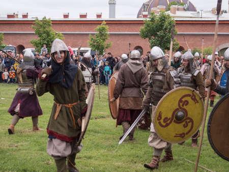 vikings: Saint Petersburg, Russia - 28 may 2016: battle of the Vikings. Historical reenactment and festival may 28, 2016, in Saint Petersburg, Russia Editorial