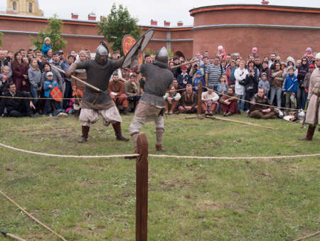 Saint Petersburg, Russia - may 28, 2016: Preparation for the Vikings. Historical reenactment and festival on may 28, 2016, in Saint Petersburg, Russia Editorial