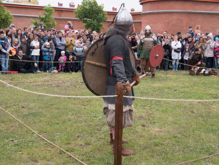 cross armed: Saint Petersburg, Russia - may 28, 2016: Preparation for the Vikings. Historical reenactment and festival on may 28, 2016, in Saint Petersburg, Russia Editorial