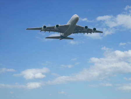 passenger aircraft: flying in the clouds passenger aircraft Stock Photo