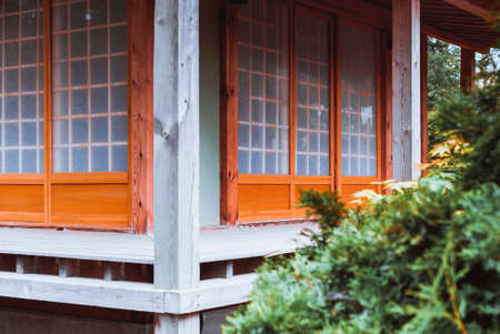 traditional house: Traditional Japanese tea house in the garden Stock Photo