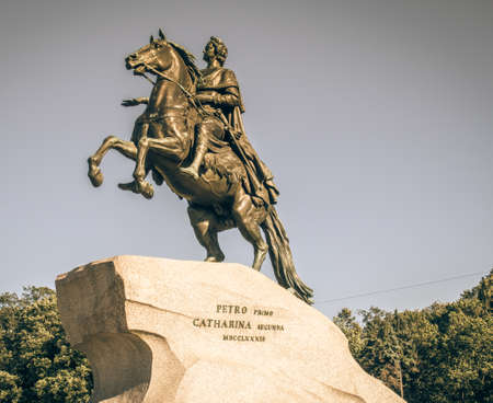 embody: equestrian statue of Peter the Great on Senat square. Editorial