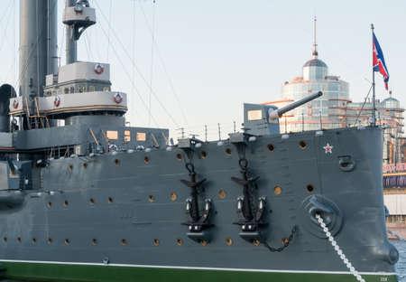 deck cannon: Saint Petersburg, Russia September 08, 2016: Forecastle gun of the cruiser Aurora in Saint-Petersburg, Russia