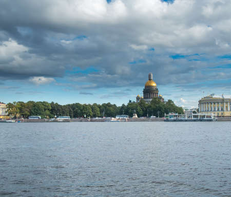 Saint Petersburg, Russia September 08, 2016: St. Isaacs Cathedral from the embankment of the river Neva in St. Petersburg, Russia.