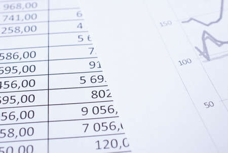 statements: Lying on the table of the financial statements table closeup