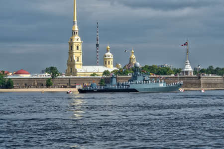 SAINT-PETERSBURG, RUSSIA - JULY 20, 2017: A combat ship at the rehearsal of the naval parade in St. Petersburg