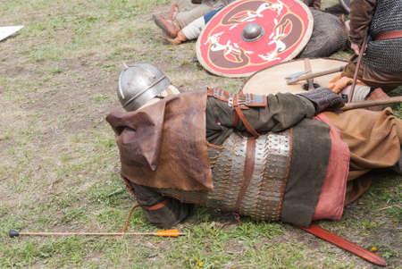 St. Petersburg, Russia - May 27, 2017: Demonstrative battle at the Viking Festival in St. Petersburg, Russia