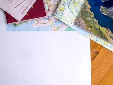 Map , guide and passport with boarding passes Stock fotó - 131771094