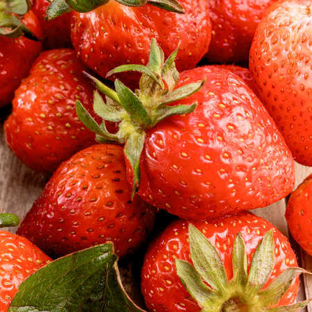 A bunch of fresh red strawberries. Close-up Stockfoto