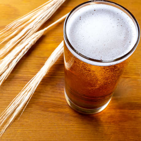 mug of beer with wheat ears on wooden table
