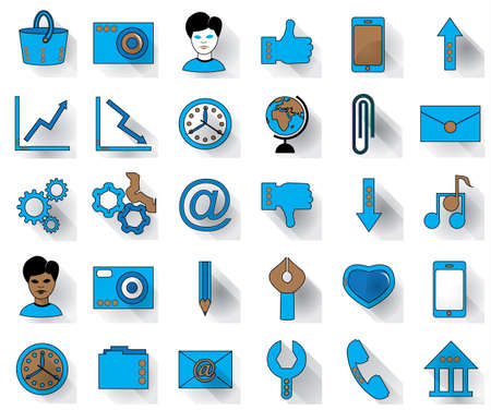Thirty blue favicon flat icons on a white background for site