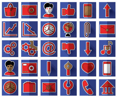 Thirty red favicon flat icons on blue background for site