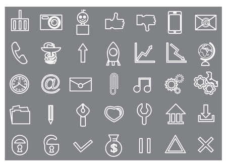 contour: Set contour icons for website white Illustration