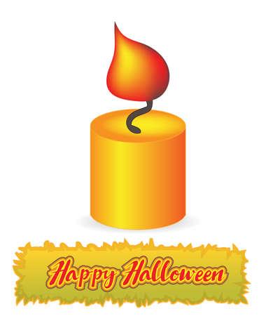 burning candle: Burning candle. Happy Halloween Illustration