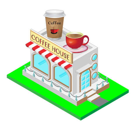 go to store: Coffee House isometric illustration