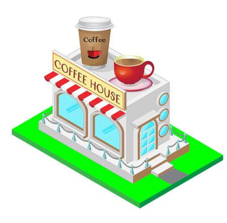 Coffee House isometrische illustratie Stock Illustratie