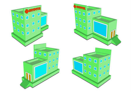 centers: Health Centers Hospital isometric view four options