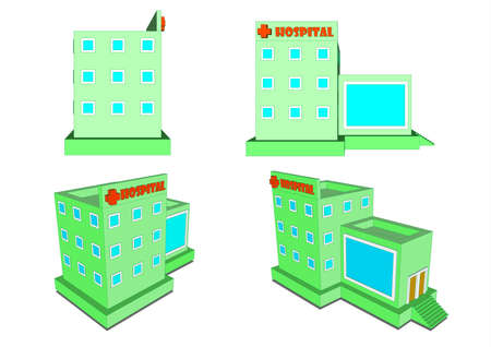Hospital in isometric projection and design Flete