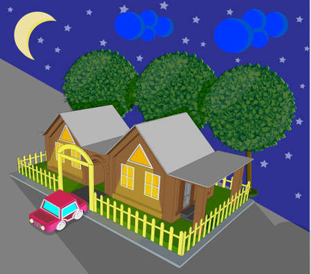 housing project: Village fabulous toy house on two semiv isometric view at night Illustration