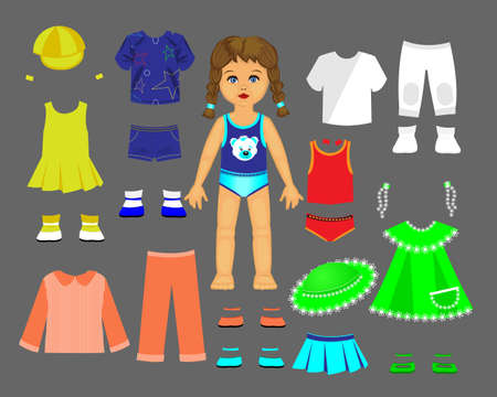 Paper doll clothes and set for play and creativity