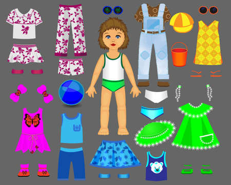 Paper doll clothes and set for play and creativity. Part 1. Summer