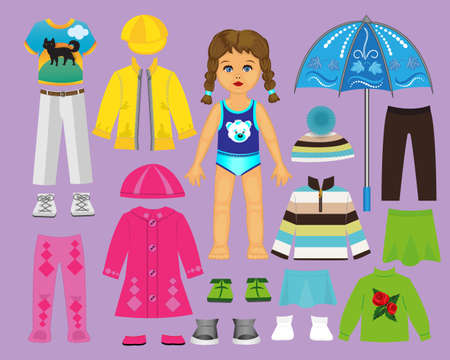 Paper doll clothes and set for play and creativity. Part 2. Autumn