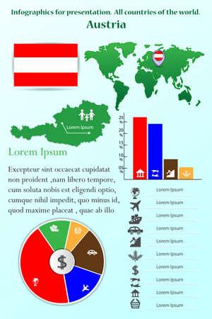 オーストリアを強調する世界のすべての国のプレゼンテーションのためのインフォグラフィック  イラスト・ベクター素材