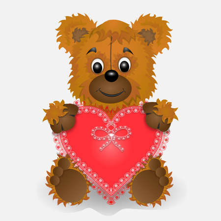 Toy bear holding in the paws of a heart postcard Illustration