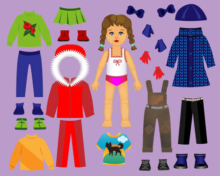 Paper doll clothes and set for play and creativity. Part 3. 矢量图像