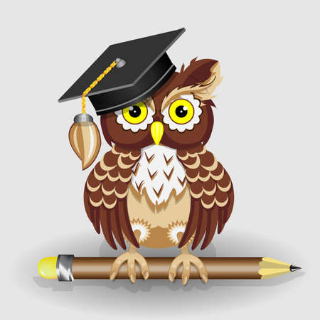 Scientist clever owl with pencil and in cap vector illustration Stock Illustratie