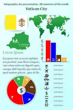 Vatican City. Infographics for presentation. All countries of the world.
