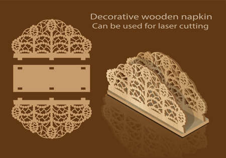 Decorative wooden napkin, can be used for laser cutting Vettoriali