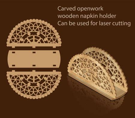 Geschnitzter durchbrochener Serviettenhalter aus Holz, der zum Laserschneiden verwendet werden kann Standard-Bild - 93892856