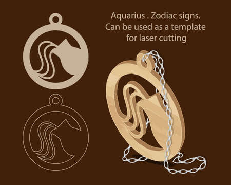 Aquarius. Zodiac signs. Can be used as a template for laser cutting 矢量图像