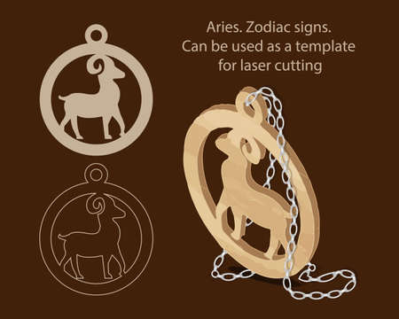 Aries. Zodiac signs. Can be used as a template for laser cutting