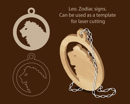 Leo. Zodiac signs. Can be used as a template for laser cutting