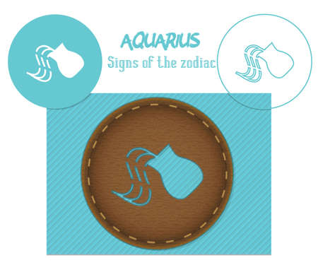 Aquarius. Signs of the zodiac. Laser cutting. Can be applied to wood, metal, leather, paper, cardboard, plastic
