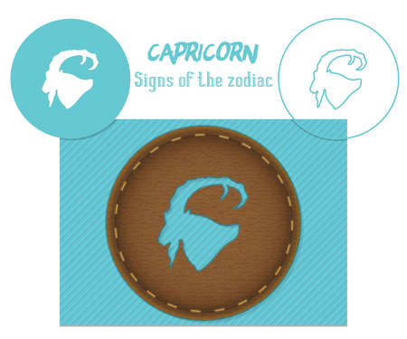 Capricorn. Signs of the zodiac. Laser cutting. Can be applied to wood, metal, leather, paper, cardboard, plastic 矢量图像
