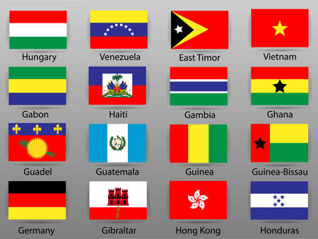 Flags of  countries of the world Vector illustration. Çizim