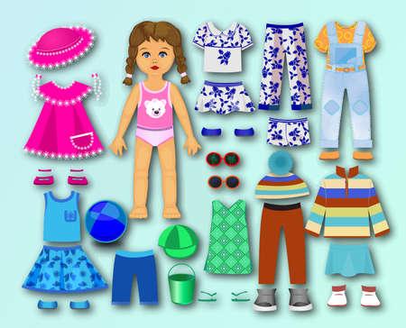 Papel, cartón con ropa para niños. Ilustración de vector