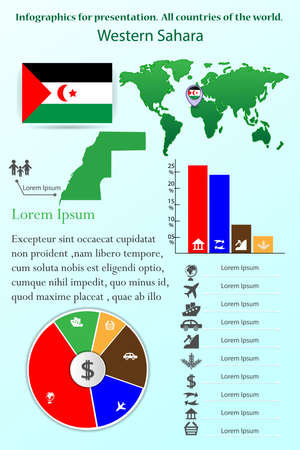 Western Sahara. Infographics for presentation. All countries of the world  イラスト・ベクター素材
