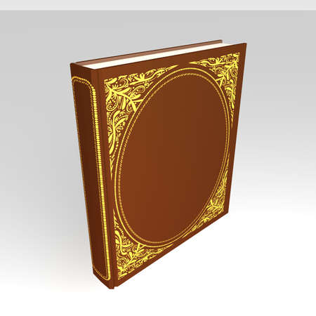 Book with a hardcover ornamentation 3d illustration isomeric projection
