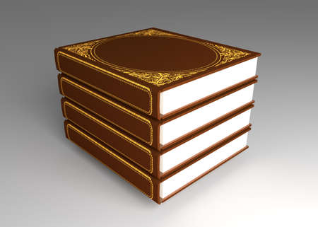 Books in a pile lie on a table 4 books with a hardcover ornamentation 3d illustration isomeric projection