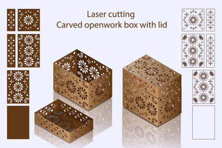 Découpe au laser. Boîte ajourée sculptée avec couvercle
