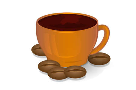Cup of coffee and coffee beans brown color on a white background Ilustração