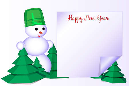 Happy New Year greeting card with snowman on white background, vector illustration