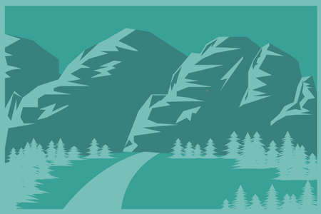 Mountains and forest flat background in green tones