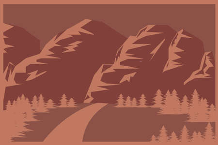 Mountains and forest flat background in brown tones