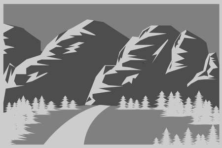 Mountains and forest flat background in gray tones